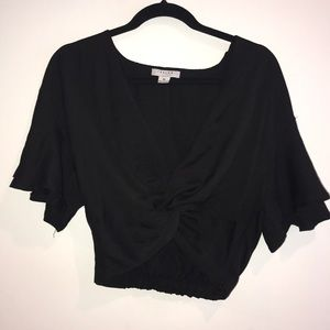 LF black crop top with knot detail